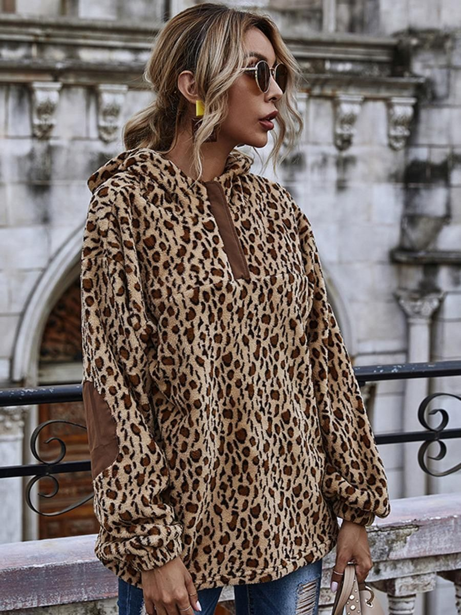 shestar wholesale leopard patchwork plush hoodies