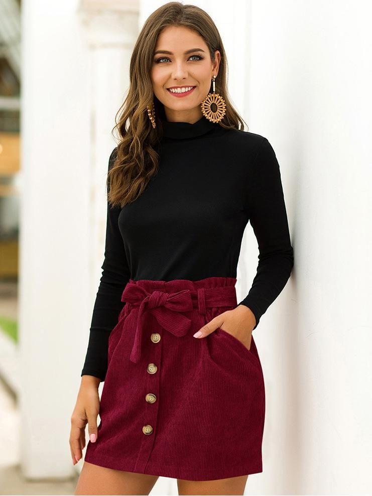 shestar wholesale button front belted a-line corduroy skirt